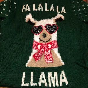 Llama Christmas sweater with hood and bell